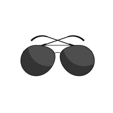 eyewear fashion: sunglasses black flat web icon, website, illustrated a color image on an isolated background