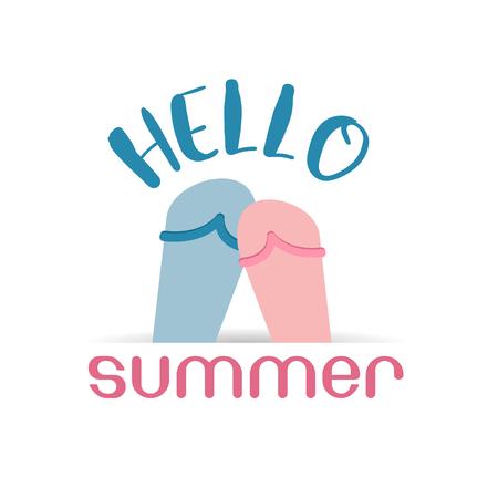 Bonjour baskets plage l'été illustration icône web pour les applications mobiles design plat photo bébé mignon sur fond blanc