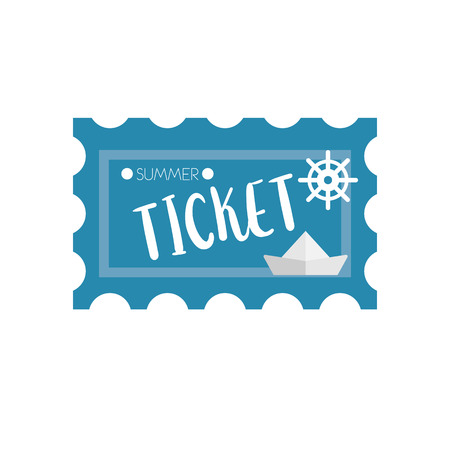 traffic ticket: traffic ticket in travel web icon illustration for mobile apps flat design cute baby picture on white background Illustration