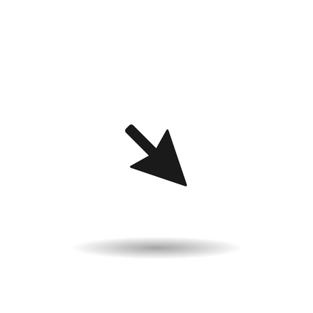unfold: black arrow black web icon, fine line illustration for mobile app color picture on a white isolated background with shadow Illustration
