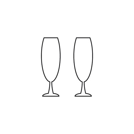clink: glass beverage black web icon, thin line illustration for mobile app color picture on a white isolated background