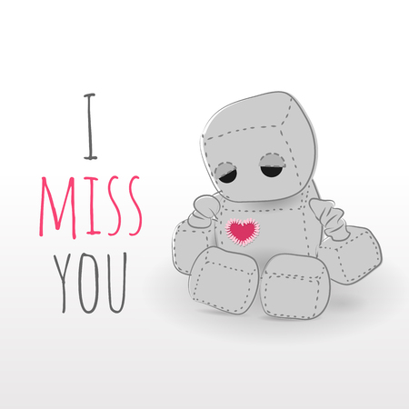 emote: Cute felt robot plush toy with heart Valentines Day misses a day sitting. Sad robot, robot illustration on a light background, lettering Illustration