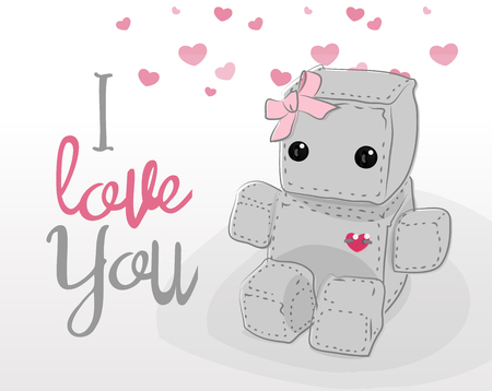 sad lonely girl: Cute felt robot girl plush toy with heart Valentines Day love and sitting. Robot with ribbon, robot illustration on a light background, lettering Illustration