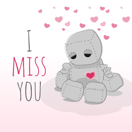 misses: Cute felt robot plush toy with heart Valentines Day misses a day sitting. Sad robot, robot illustration on a light background, lettering Illustration