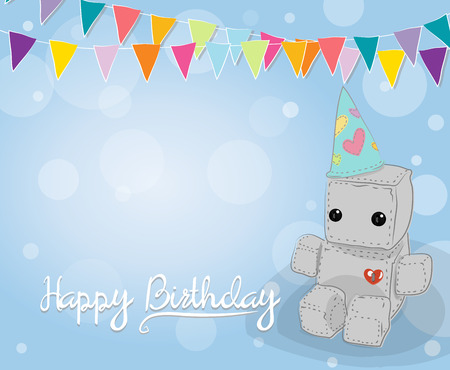 Cute felt robot plush toy with heart with love Birthday card and sitting. Robot with flag and pennant, robot illustration on a light background, lettering Illustration