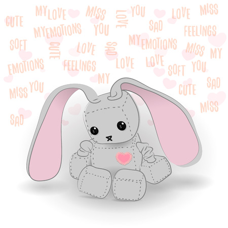 emote: Cute felt bunny robot plush toy with heart Valentines Day miss you a day sitting. Sad robot, robot illustration on a light background, lettering Illustration