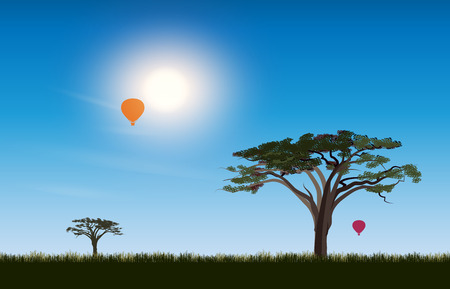 savannah: African desert Savannah. Scene landscape of a sunny day on the background of the acacia tree and air balloon in the sky. Sun rays and the beautiful nature. Illustration
