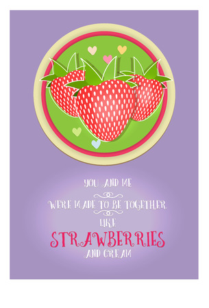 philosophical: Postcard Valentines day from a philosophical phrase about love, strawberry and cream. Lettering, beautiful decorative text. The heart and love. Picture is hand drawing. Illustration