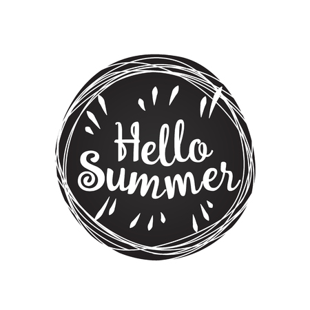 lively: Phrase Hello summer on black grunge background. Vector lively hand drawn picture. Motivation.