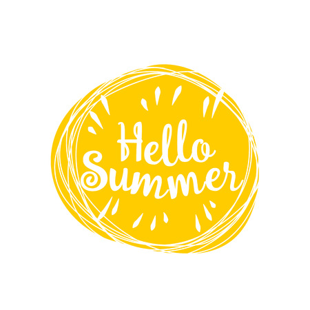 lively: Phrase Hello summer in the sun on a white background. Vector lively hand drawn picture. Motivation.
