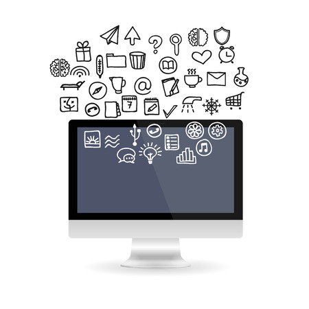 electronic gadget: Realistic computer monitor with empty screen with set business icons. Various modern electronic gadget isolated on white background. Vector illustration EPS10 Illustration