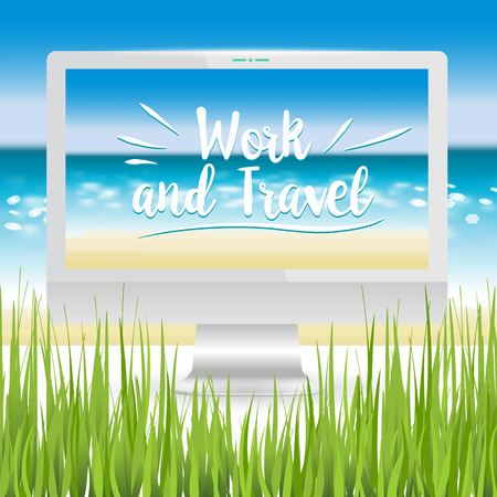 sandy: Realistic computer monitor located on the sandy beach on the ocean. Work and travel lettering. Vector illustration