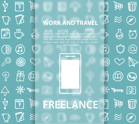freelancing: Set vector simple icon in Doodle style for business Internet marketing background. Work and travel, office freelancing. Pictogram for gadget.