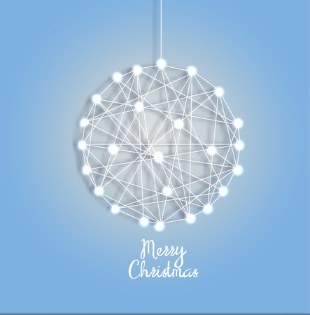 Decorative card for the holiday Christmas and new year. Christmas ball of luminous garlands, threads and nails. Vector illustration.
