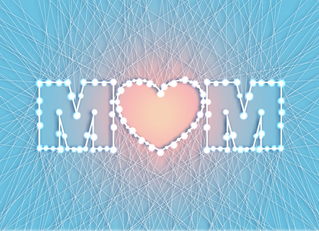 lite: lovely card for a happy mothers day silhouette of the heart in a creative font from thread and nails with garland. Spring vector illustration on lite background.