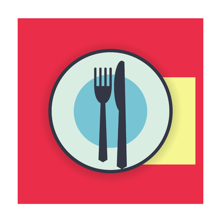 etiquette: provide etiquette wait next meal on white background flat. Knives and forks on a plate. Vector illustration.