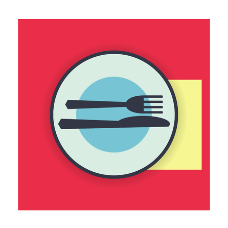 excellent: provide etiquette excellent meal on white background flat. Knives and forks on a plate. Vector illustration.