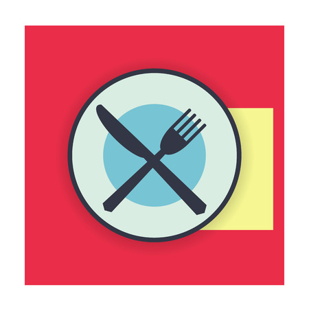 etiquette: provide etiquette finished eat on white background flat. Knives and forks on a plate. Vector illustration. Illustration
