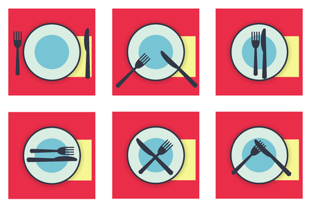 etiquette: Collection web icons provide etiquette on white background flat. Knives and forks on a plate. Vector illustration for app Illustration