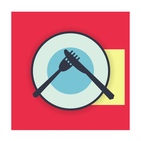 provide: provide etiquette disgusting meal on white background flat. Knives and forks on a plate. Vector illustration. Illustration