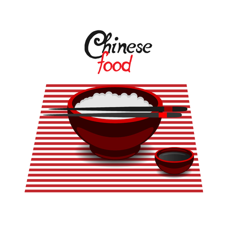 soy sauce: Chinese food rice color vector flat icon on a white background. Soy sauce in the red dish and chopsticks. Illustration