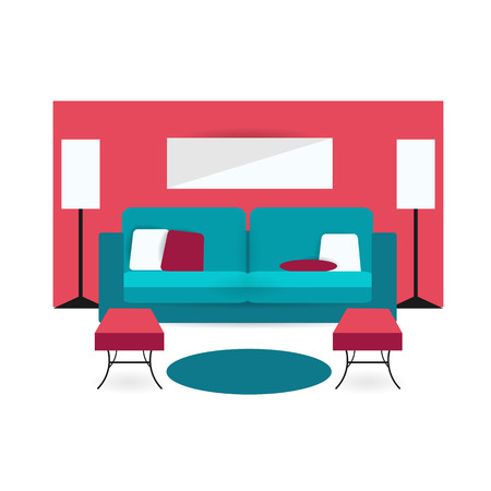 arm chair: living room background interior colorful design with furniture double sofa, cupboards, lamp, arm chair and pillow. Vector flat style illustration. Material vector icon