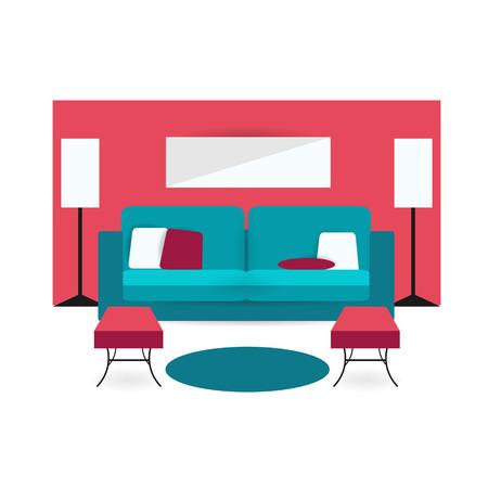 Wohnzimmer Hintergrund Unter Bunten Design Mit Möbeln Doppel-Sofa ...