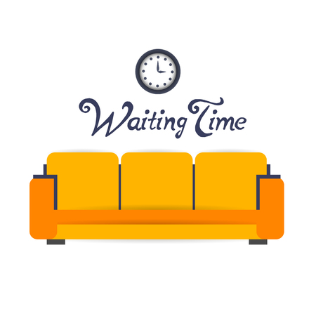 waiting room: waiting room background interior colorful design with furniture double sofa and electric clock. Vector flat style illustration. Material vector icon
