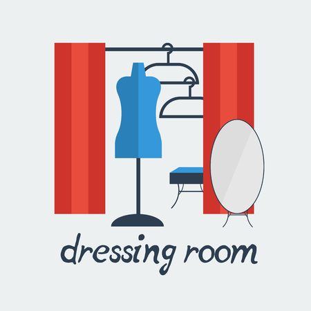 dressing room: dressing room Studio background interior colorful design with furniture fitting, hanger, mannequin, ottoman, mirror. Vector flat style illustration.