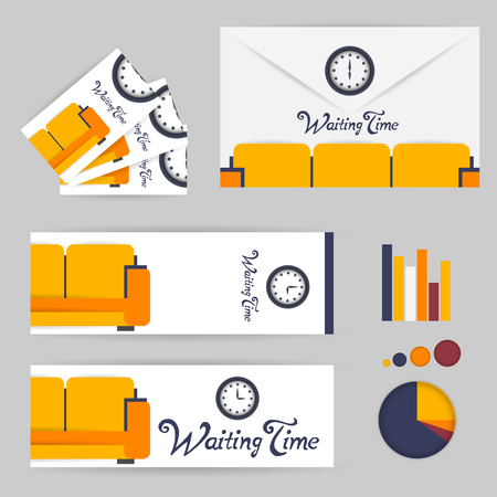 waiting room: waiting room background interior colorful design with furniture infographic envelope, business card, bookmark. Vector flat style illustration. Material vector icon Illustration