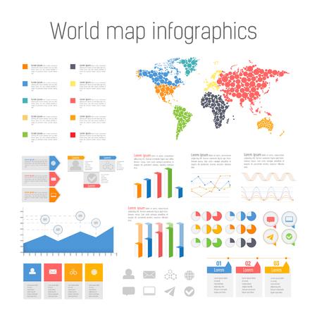 demografia: Conjunto de elementos de infografía de colores. Detalle de ilustración vectorial infografía. Mapa del Mundo y los gráficos de la Información. Vectores