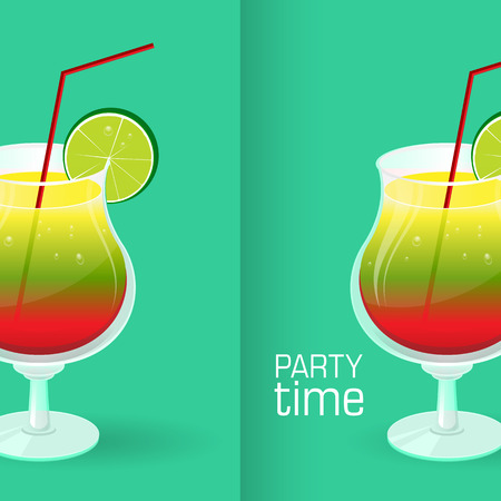lime slice: Realistic tropical cocktail in glass with lime slice isolated on turquoise, aquamarine background vector illustration