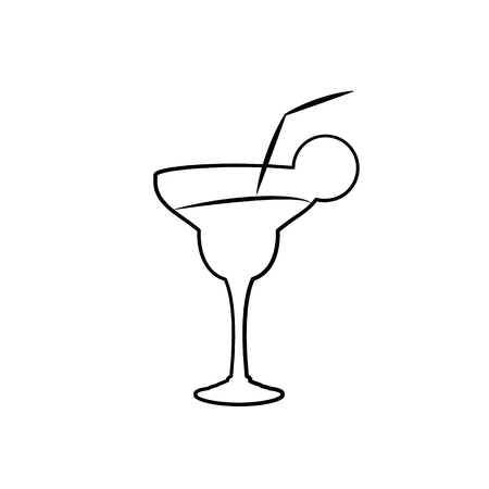 Margarita sketch cocktail in glass with lime slice isolated on white background vector illustration Vettoriali