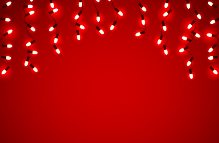 marry christmas: Vector set of Marry Christmas and other holidays garlands light on a transparent red background
