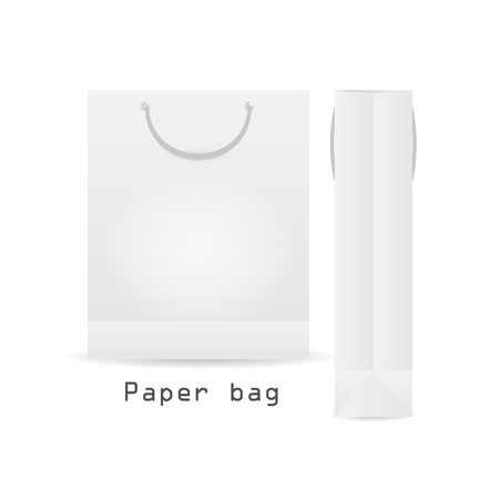 shoping bag: Two WhitePaper bag with rope Packaging ready for your design. Shoping product packing vector illustration