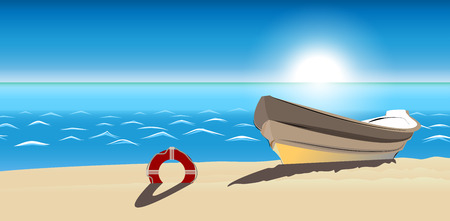 seascape boat sandy beach icon isolated, ranking mark. Modern simple flat favorite sign. Trendy sketch decoration symbol for website design, web banner, mobile app. Illustration