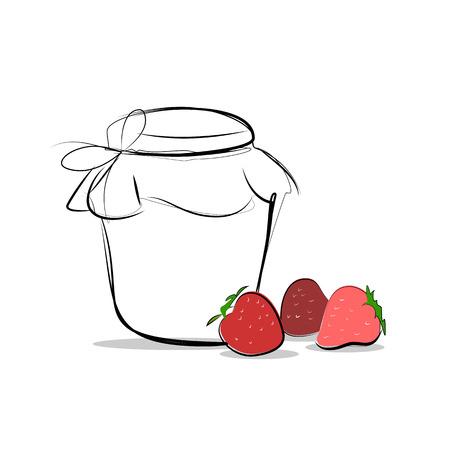 glass jar: Strawberry jam colored sketch icon isolated, ranking mark. Modern simple flat favorite sign. Concept. Trendy sketch decoration symbol for website design, web banner, shop. Illustration