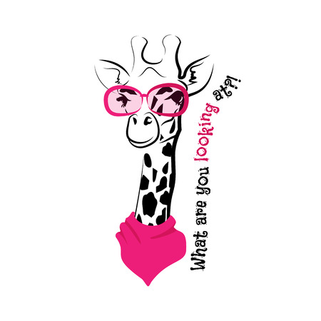head scarf: head of a giraffe hipster. Giraffe in round glasses on light background. Hand-drawn sketch of a giraffe. Retro Fashion. Giraffe with glasses and scarf and phrase What are you looking at Illustration
