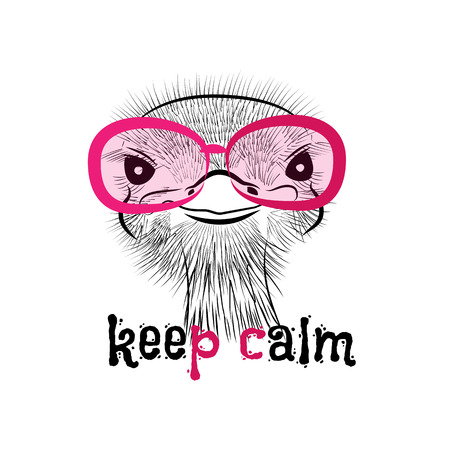 retro fashion: head of a hipster ostrich. Ostrich in round glasses on light background. Hand-drawn sketch of a ostrich. Retro Fashion Is. Creative ostrich with words Keep calm