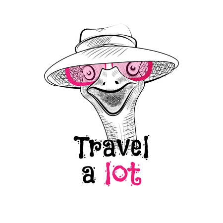 Funny ostrich in the pink sunglasses and hat. Lettering creative phrase, youth style. Doodle drawing brush is hand-painted on white background. Travel a lot Illustration