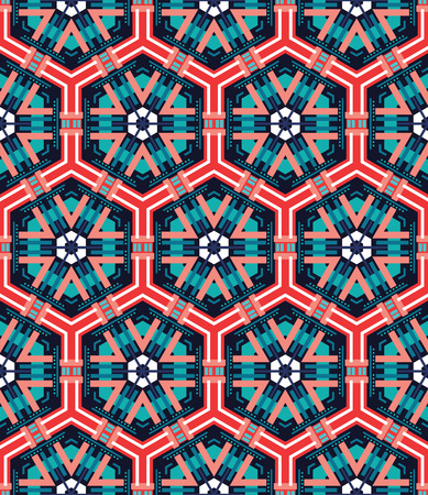 ceramics: beautiful mosaic flat abstract multicolored geometric ornament for Wallpaper, textiles, ceramics. Seamless ceramic pattern on blue background. Positive emotions. Illustration