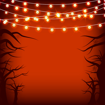 spider web: Vector set Halloween and other holidays garlands star light on transparent red background with tree and spider web. Electric lighting for greetings.