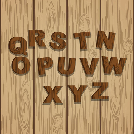 ready logos: Second half colored grunge wooden alphabet, vector set with letters, ready for text message title or logos on wooden laminate background. Rings of tree.
