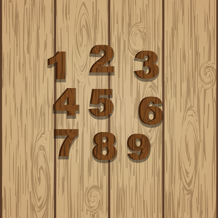 laminate: Grunge wooden colored numbers, vector set with numeral characters, ready for text message title or logos on wooden laminate background. Rings of tree.