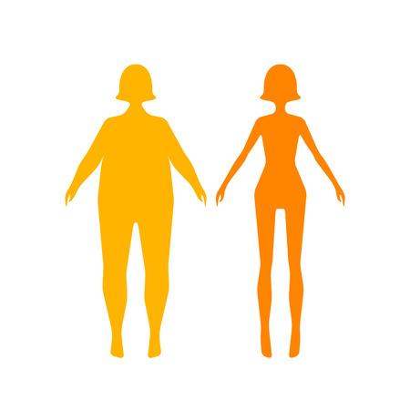 Dos tipos de cuerpo femenino. Establecer cifras finos del cuerpo delgado de espesor. iconos de colores planos aplicación. Ilustración del vector. estilo plano estilo de vida de diseño, la alimentación saludable, la dieta, el ejemplo.