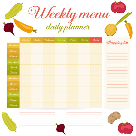 Cute paper note week healthy eating, daily routine. Breakfast, lunch, dinner. Weekly menu calendar. Template shopping list product and vegetables. Planner Vector.