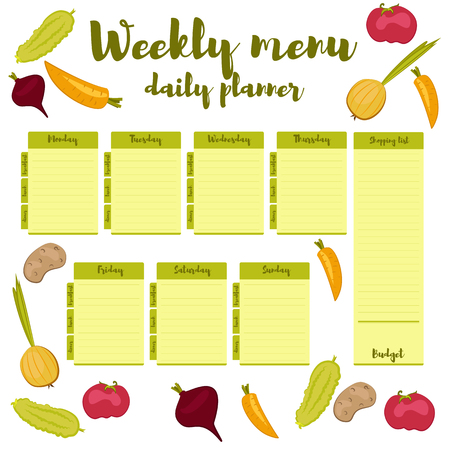 weekly: Green colorful modern paper note week healthy eating doodle. Breakfast, lunch, dinner. Weekly menu calendar. Template shopping list product and vegetables. Planner Vector. Illustration