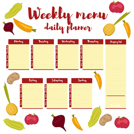 Red colored paper note week healthy eating, daily routine. Breakfast, lunch, dinner. Weekly menu calendar. Template shopping list product and vegetables. Planner Vector. Çizim