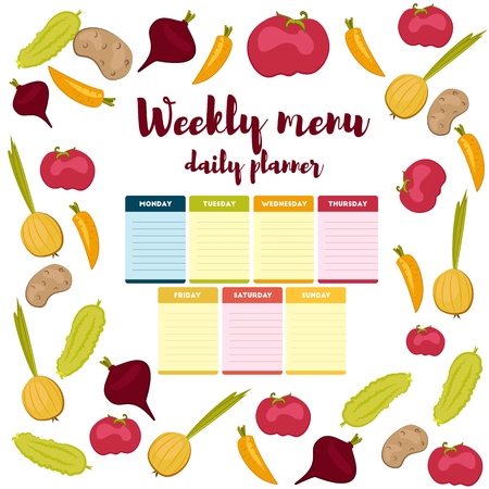 Paper note week healthy eating, daily routine. Breakfast, lunch, dinner. Weekly menu calendar. Template shopping list product and vegetables. Planner Vector.