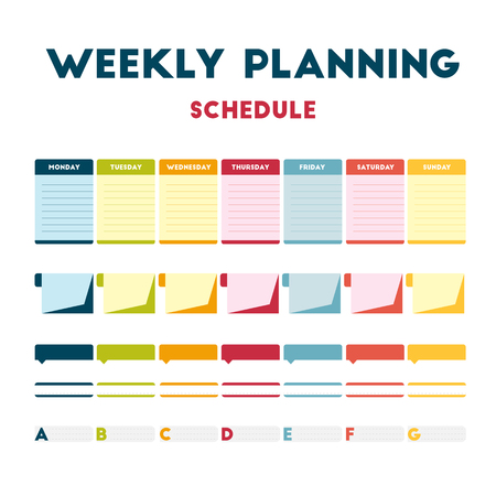 personal training: Flat design, colored paper calendar week. Diary personal training routine. Weekly calendar days. Vector element info graphic banner everyday.